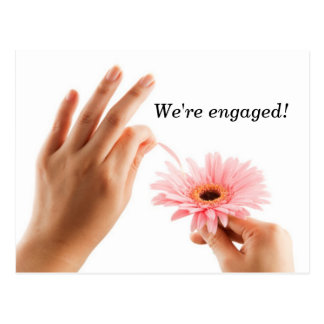 He loves me daisy engagement announcement postcard