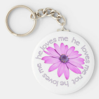He Loves Me He Loves Me Not Basic Round Button Keychain