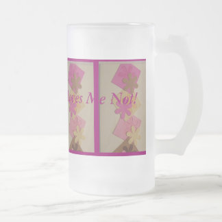 He Loves Me  He Loves Me Not Frosted Glass Beer Mug