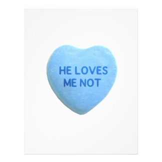 He Loves Me Not Blue Candy Heart Flyer