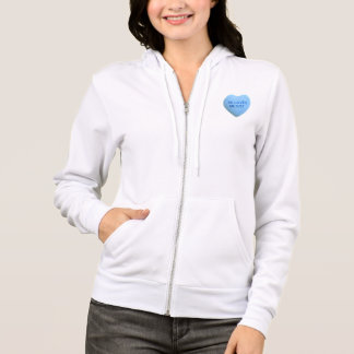 He Loves Me Not Blue Candy Heart Hoodie