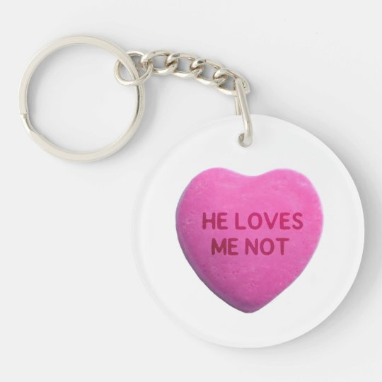 He Loves Me Not Pink Candy Heart Keychain