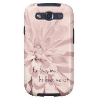 He Loves Me Not Pink Flower Samsung Galaxy SIII Case