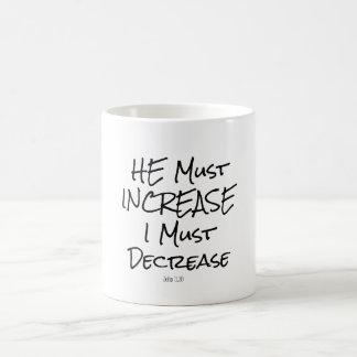 He Must Increase, I must Decrease Bible Verse Coffee Mug