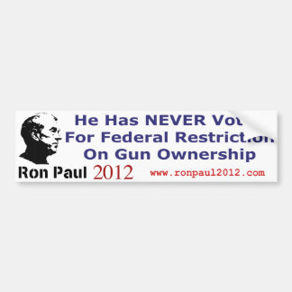He Never Voted For Restriction on Gun Ownership Car Bumper Sticker