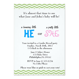 "He or She Gender Reveal Invitation 5"" X 7"" Invitation Card"