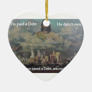 He Paid a Debt Double-Sided Heart Ceramic Christmas Ornament