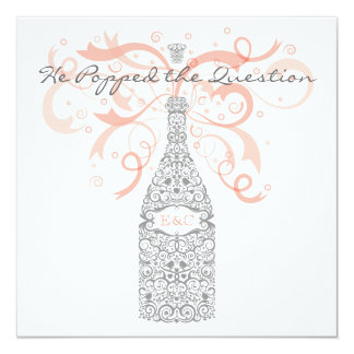 He Popped the Question - Silver & Peach Card