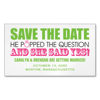 He Popped the Question   Wedding Save the Date Business Card Magnet