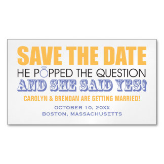 He Popped the Question   Wedding Save the Date Magnetic Business Card