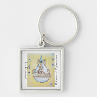 He Promised a Crown of Righteousness Silver-Colored Square Keychain