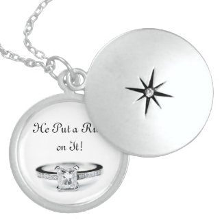 He Put a Ring on it Engagement Round Locket Necklace