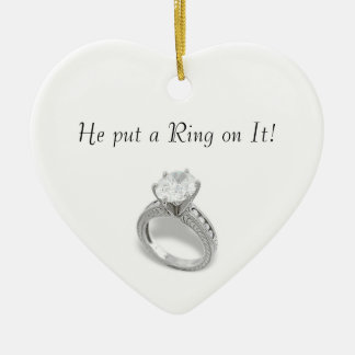 He Put a Ring on It/save the date Double-Sided Heart Ceramic Christmas Ornament