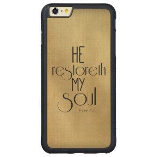 He restoreth my Soul Bible Verse Carved® Maple iPhone 6 Plus Bumper Case