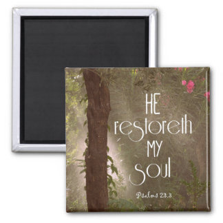 He restoreth my Soul Bible Verse 2 Inch Square Magnet
