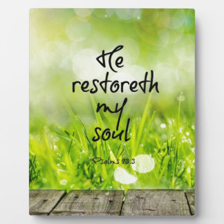 He restoreth my Soul Bible Verse Display Plaque
