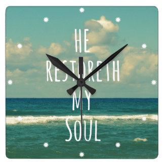 He restoreth my Soul Bible Verse Scripture Clocks