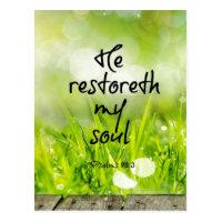 He restoreth my Soul Bible Verse Scripture Postcard
