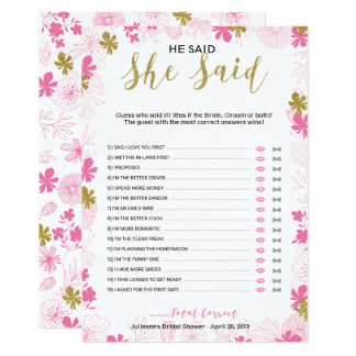 He Said She Said Bridal Shower  Floral Game Card