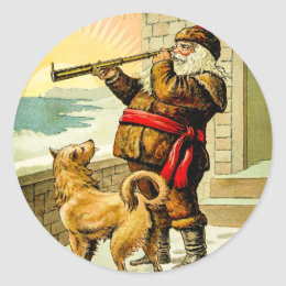 He Sees You When You're Sleeping Vintage Santa Classic Round Sticker