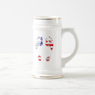 He /She has an American Soul - USA footprint gifts Beer Stein