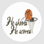 He Shoots...He Scores Classic Round Sticker