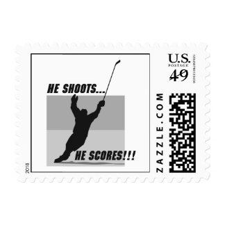 he shoots he scores hockey design stamps