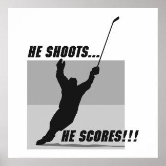 he shoots he scores hockey design poster
