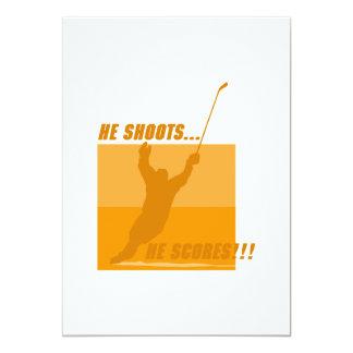 He Shoots He Scores - Orange Personalized Invitations