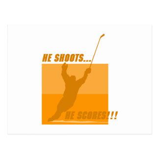 He Shoots He Scores - Orange Postcard