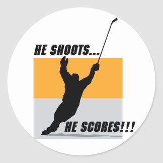 He Shoots....He Scores! Round Stickers