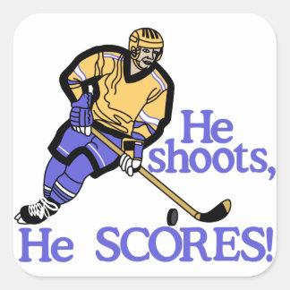 He Shoots He Scores Square Sticker