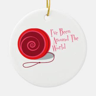 He sido en todo el mundo adorno navideño redondo de cerámica
