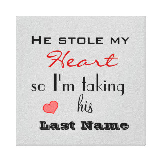 He Stole my Heart Engagement Photo Canvas Print
