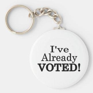 He votado ya llavero redondo tipo pin