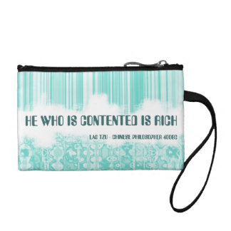 He Who Is Contented Is Rich Quotation Coin Purses