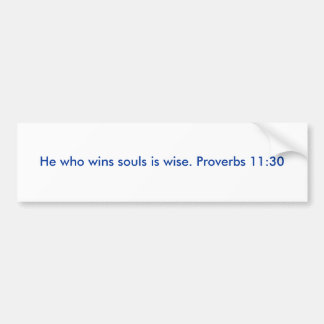 He who wins souls is wise. Proverbs 11:30 Bumper Sticker