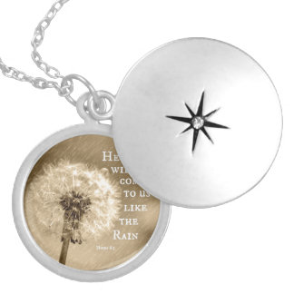 He will come to us like the Rain Bible Verse Round Locket Necklace