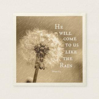 He will come to us like the Rain Bible Verse Paper Napkin