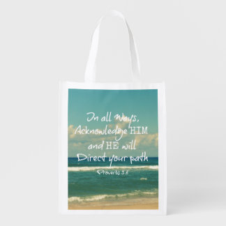 He will direct your Path Bible Verse Reusable Grocery Bag