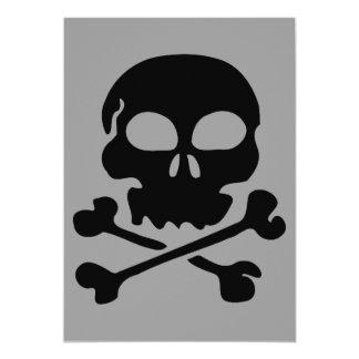 head-30455  head black silhouette skull human cart 5x7 paper invitation card