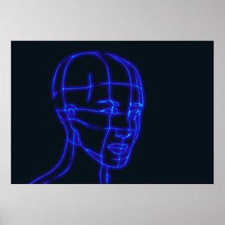 head-625666 DARK BLACK BLUE DIGITAL HEAD HUMAN HUM Poster
