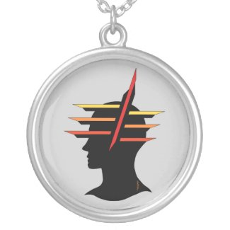 Head Abstract Round Pendant Necklace