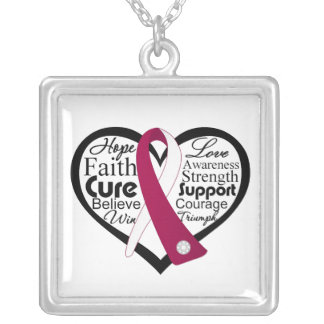 Head and Cancer Heart Ribbon Collage Square Pendant Necklace