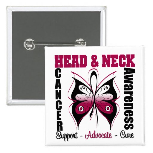 Head and Neck Cancer Awareness Butterfly Button
