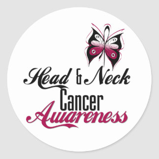 Head and Neck Cancer Awareness Butterfly Classic Round Sticker