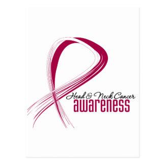 Head and Neck Cancer Awareness Grunge Ribbon Postcard
