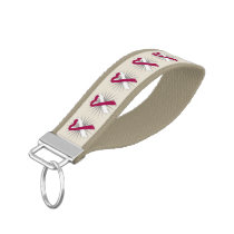 Head and Neck Cancer Awareness Heart Ribbon Wrist Keychain
