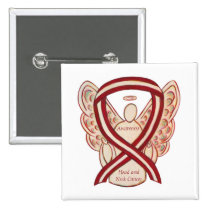 Head and Neck Cancer Awareness Ribbon Angel Pin