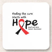 Head and Neck Cancer Awareness Ribbon Butterfly Beverage Coaster
